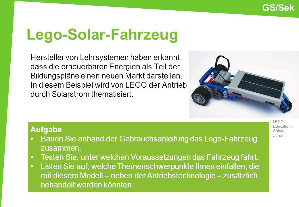 Lego-Solar-Fahrzeug Hersteller von Lehrsystemen haben erkannt, dass die erneuerbaren Energien als Teil der Bildungspläne einen neuen Markt darstellen.