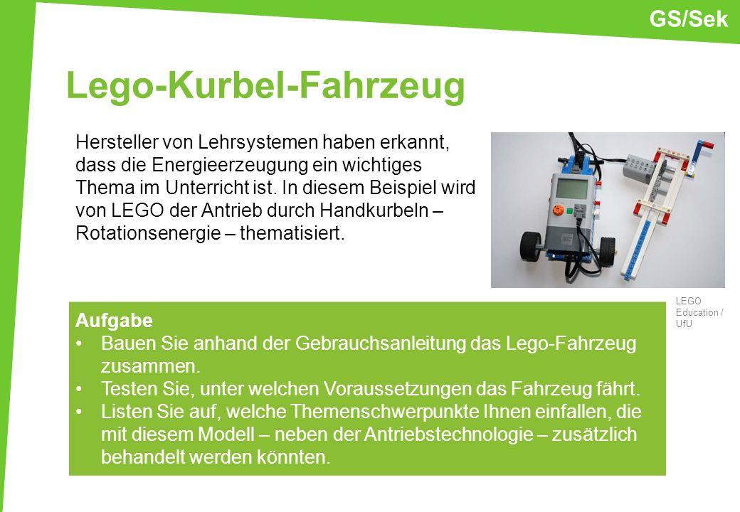 Lego-Kurbel-Fahrzeug Hersteller von Lehrsystemen haben erkannt, dass die Energieerzeugung ein wichtiges Thema im Unterricht ist. In diesem Beispiel wi