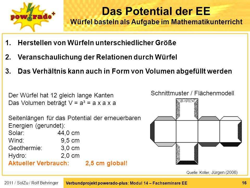 Verbundprojekt powerado-plus: Modul 14 – Fachseminare EE 16 Verbundprojekt powerado-plus 16 Das Potential der EE Würfel basteln als Aufgabe im Mathema