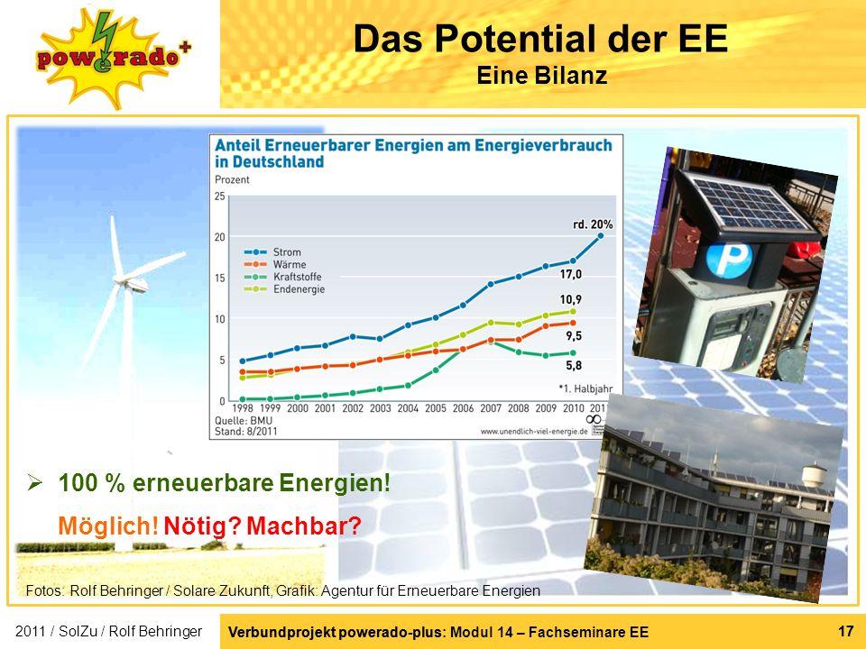 Verbundprojekt powerado-plus: Modul 14 – Fachseminare EE 17 100 % erneuerbare Energien! Möglich! Nötig? Machbar? Verbundprojekt powerado-plus 17 Das P