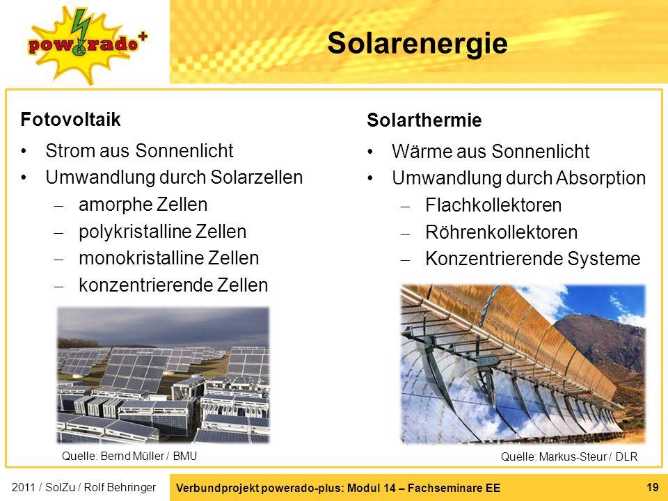 Verbundprojekt powerado-plus: Modul 14 – Fachseminare EE 19 Solarenergie Fotovoltaik Strom aus Sonnenlicht Umwandlung durch Solarzellen amorphe Zellen