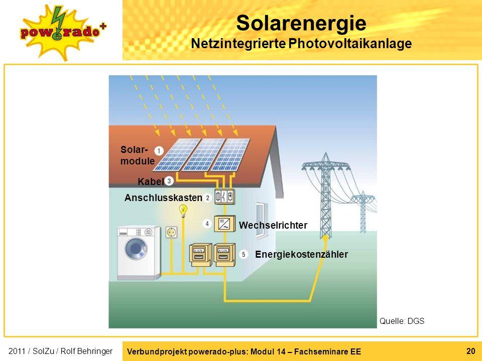 Solarenergie Netzintegrierte Photovoltaikanlage 2011 / SolZu / Rolf Behringer Solar- module Kabel Anschlusskasten Wechselrichter Energiekostenzähler Q