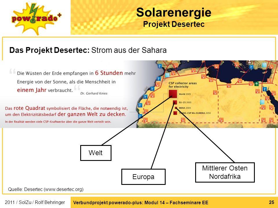 Verbundprojekt powerado-plus: Modul 14 – Fachseminare EE 25 Solarenergie Projekt Desertec Das Projekt Desertec: Strom aus der Sahara Welt Europa Mittl