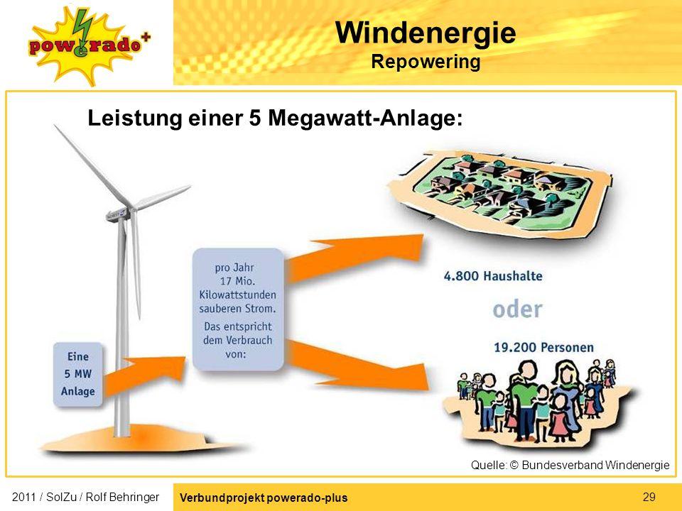 29 Windenergie Repowering Leistung einer 5 Megawatt-Anlage: Quelle: © Bundesverband Windenergie 2011 / SolZu / Rolf Behringer Verbundprojekt powerado-
