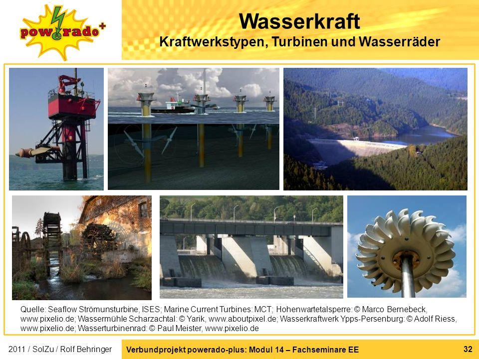 Verbundprojekt powerado-plus: Modul 14 – Fachseminare EE 32 Wasserkraft Kraftwerkstypen, Turbinen und Wasserräder 2011 / SolZu / Rolf Behringer Quelle