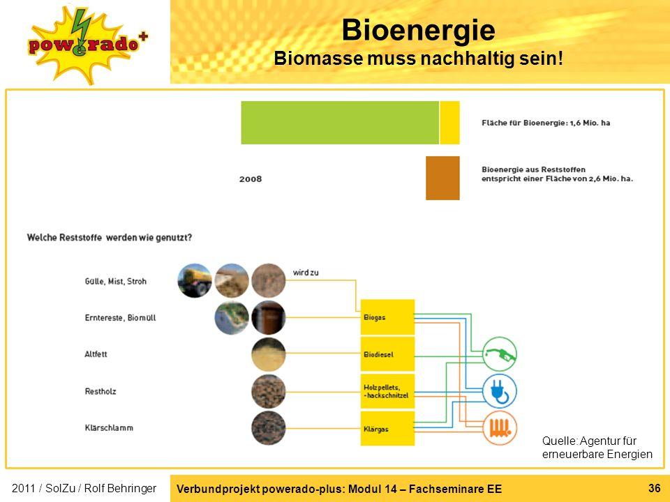 36 Bioenergie Biomasse muss nachhaltig sein! Quelle: Agentur für erneuerbare Energien 2011 / SolZu / Rolf Behringer