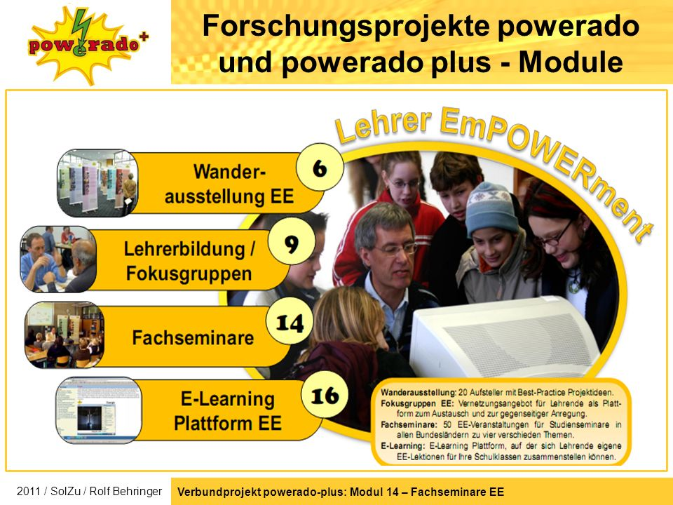 Verbundprojekt powerado-plus: Modul 14 – Fachseminare EE Forschungsprojekte powerado und powerado plus - Module 2011 / SolZu / Rolf Behringer