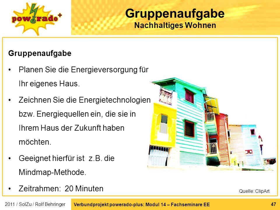 Verbundprojekt powerado-plus: Modul 14 – Fachseminare EE 47 Gruppenaufgabe Nachhaltiges Wohnen 2011 / SolZu / Rolf Behringer Gruppenaufgabe Planen Sie