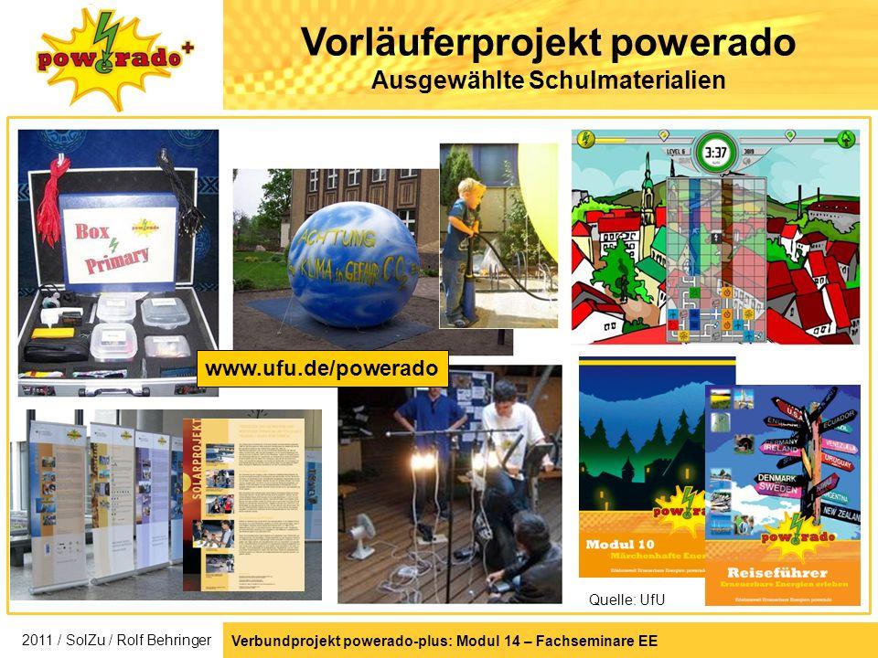 Vorläuferprojekt powerado Ausgewählte Schulmaterialien Quelle: UfU www.ufu.de/powerado Verbundprojekt powerado-plus: Modul 14 – Fachseminare EE 2011 /