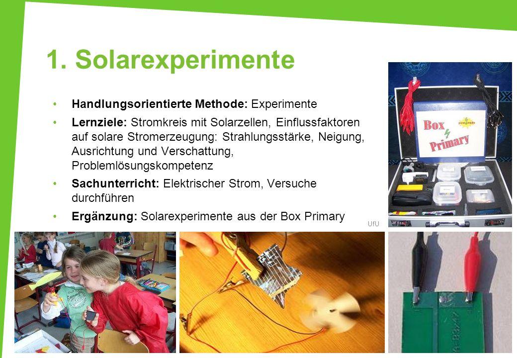 1. Solarexperimente Handlungsorientierte Methode: Experimente Lernziele: Stromkreis mit Solarzellen, Einflussfaktoren auf solare Stromerzeugung: Strah