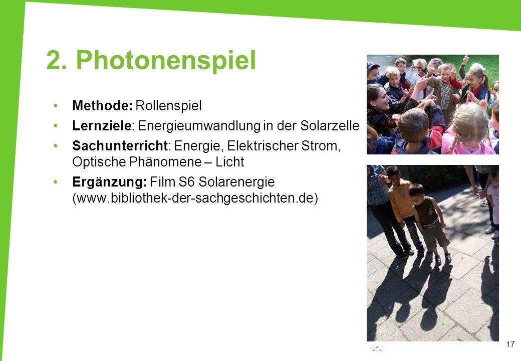 2. Photonenspiel Methode: Rollenspiel Lernziele: Energieumwandlung in der Solarzelle Sachunterricht: Energie, Elektrischer Strom, Optische Phänomene –