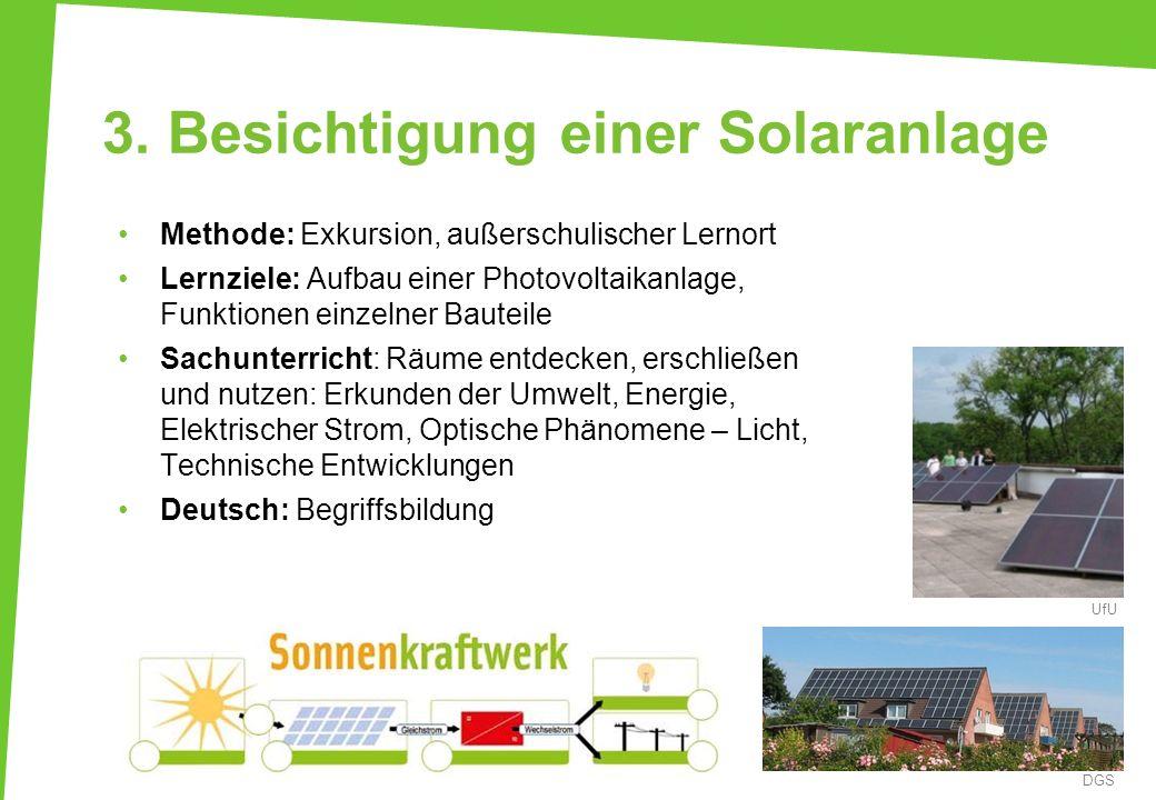 3. Besichtigung einer Solaranlage Methode: Exkursion, außerschulischer Lernort Lernziele: Aufbau einer Photovoltaikanlage, Funktionen einzelner Bautei