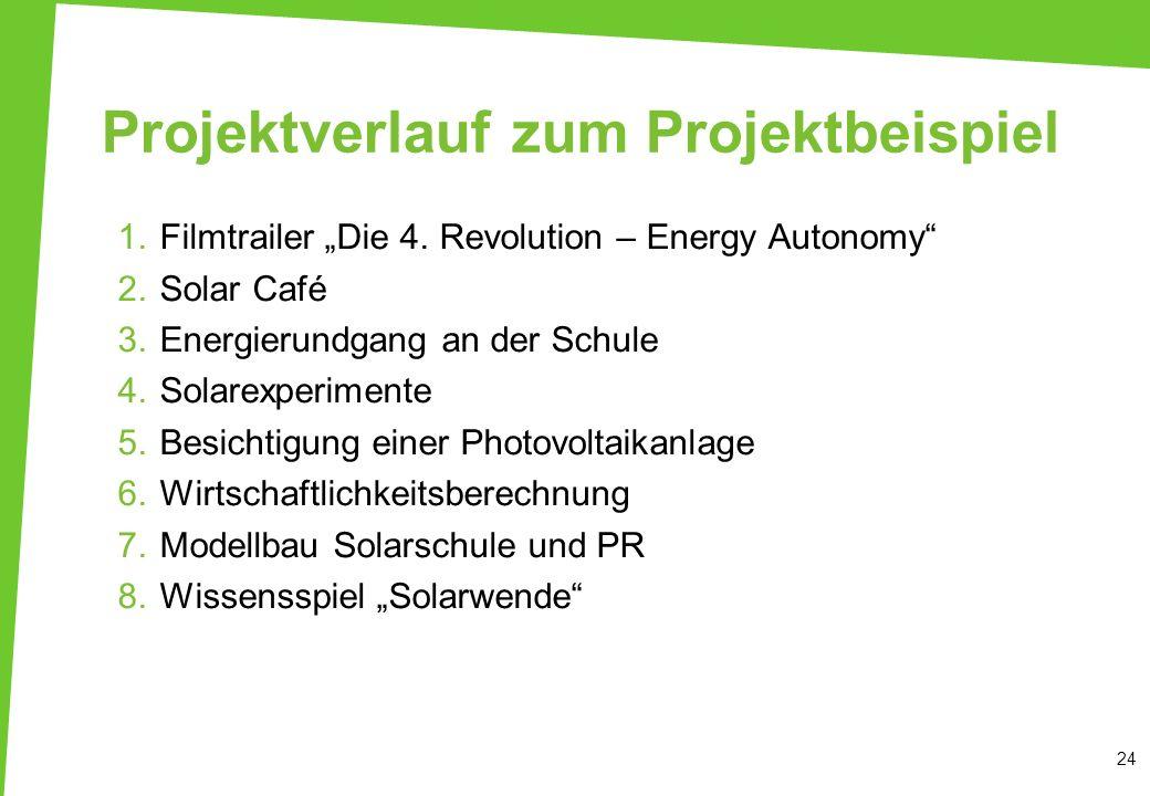 Projektverlauf zum Projektbeispiel 1.Filmtrailer Die 4. Revolution – Energy Autonomy 2.Solar Café 3.Energierundgang an der Schule 4.Solarexperimente 5