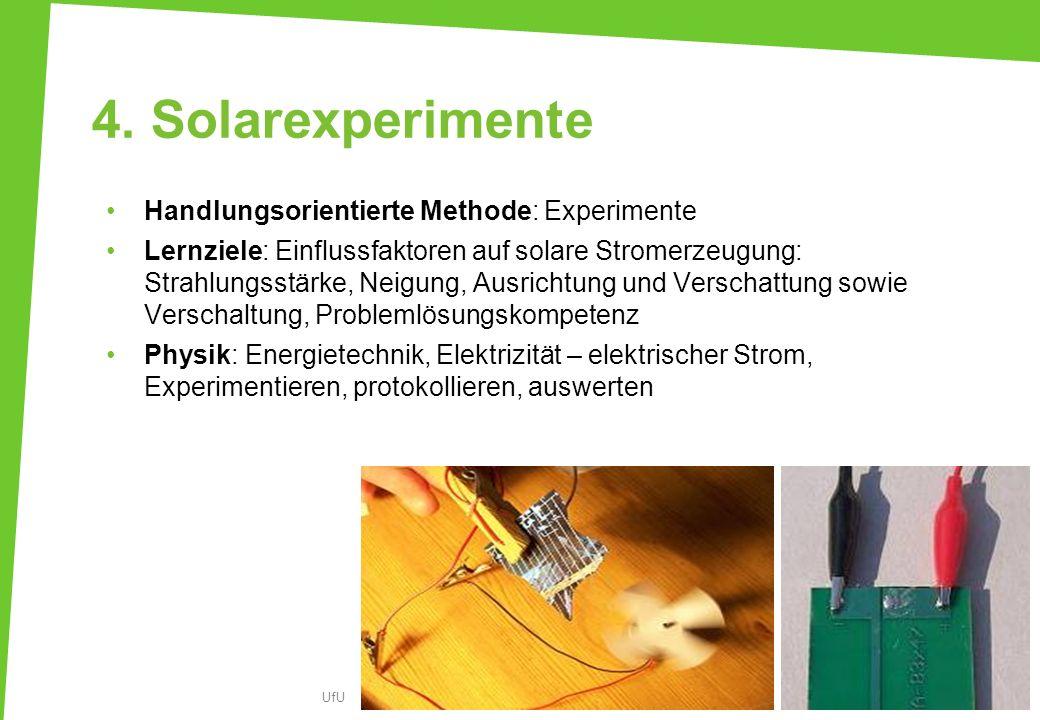 4. Solarexperimente Handlungsorientierte Methode: Experimente Lernziele: Einflussfaktoren auf solare Stromerzeugung: Strahlungsstärke, Neigung, Ausric