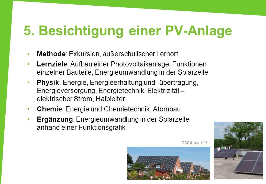 5. Besichtigung einer PV-Anlage Methode: Exkursion, außerschulischer Lernort Lernziele: Aufbau einer Photovoltaikanlage, Funktionen einzelner Bauteile