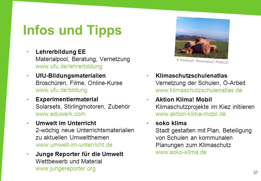 37 Infos und Tipps Lehrerbildung EE Materialpool, Beratung, Vernetzung www.ufu.de/lehrerbildung UfU-Bildungsmaterialien Broschüren, Filme, Online-Kurs