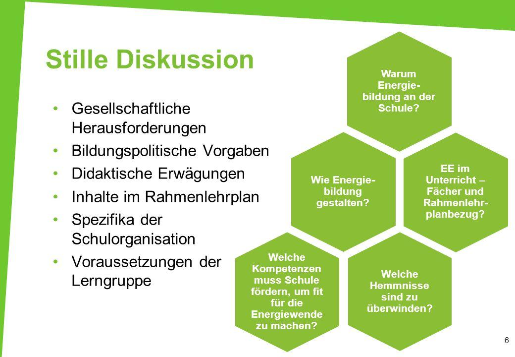Stille Diskussion 6 EE im Unterricht – Fächer und Rahmenlehr- planbezug? Warum Energie- bildung an der Schule? Welche Hemmnisse sind zu überwinden? Ge