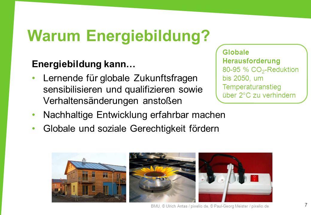 Warum Energiebildung? Energiebildung kann… Lernende für globale Zukunftsfragen sensibilisieren und qualifizieren sowie Verhaltensänderungen anstoßen N
