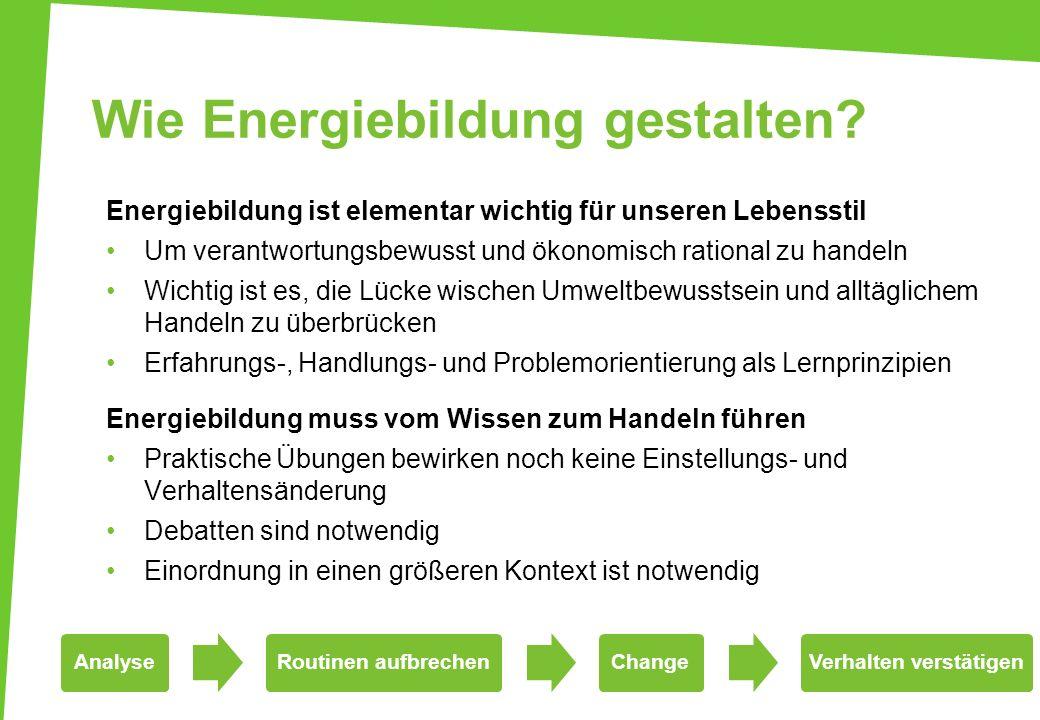 Wie Energiebildung gestalten? Energiebildung ist elementar wichtig für unseren Lebensstil Um verantwortungsbewusst und ökonomisch rational zu handeln
