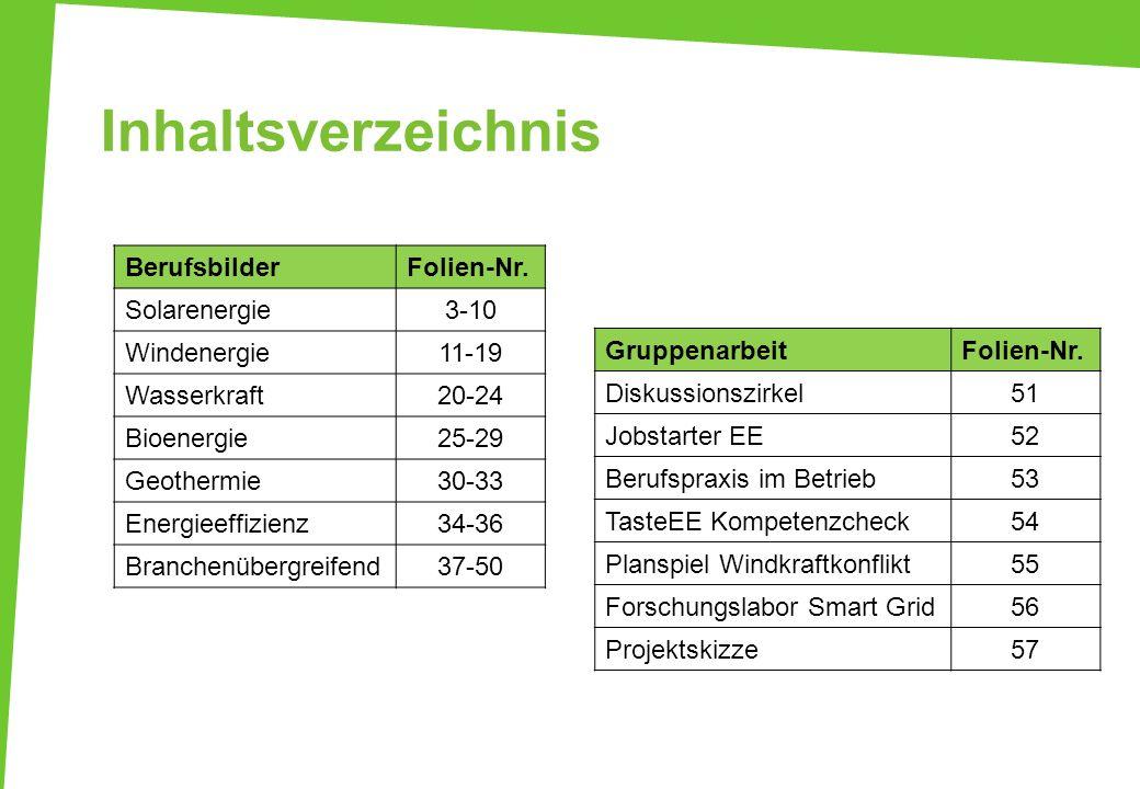Inhaltsverzeichnis BerufsbilderFolien-Nr. Solarenergie3-10 Windenergie11-19 Wasserkraft20-24 Bioenergie25-29 Geothermie30-33 Energieeffizienz34-36 Bra