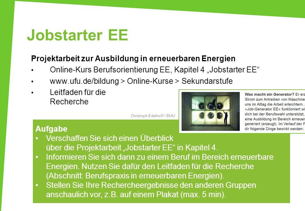 Jobstarter EE Projektarbeit zur Ausbildung in erneuerbaren Energien Online-Kurs Berufsorientierung EE, Kapitel 4 Jobstarter EE www.ufu.de/bildung > On