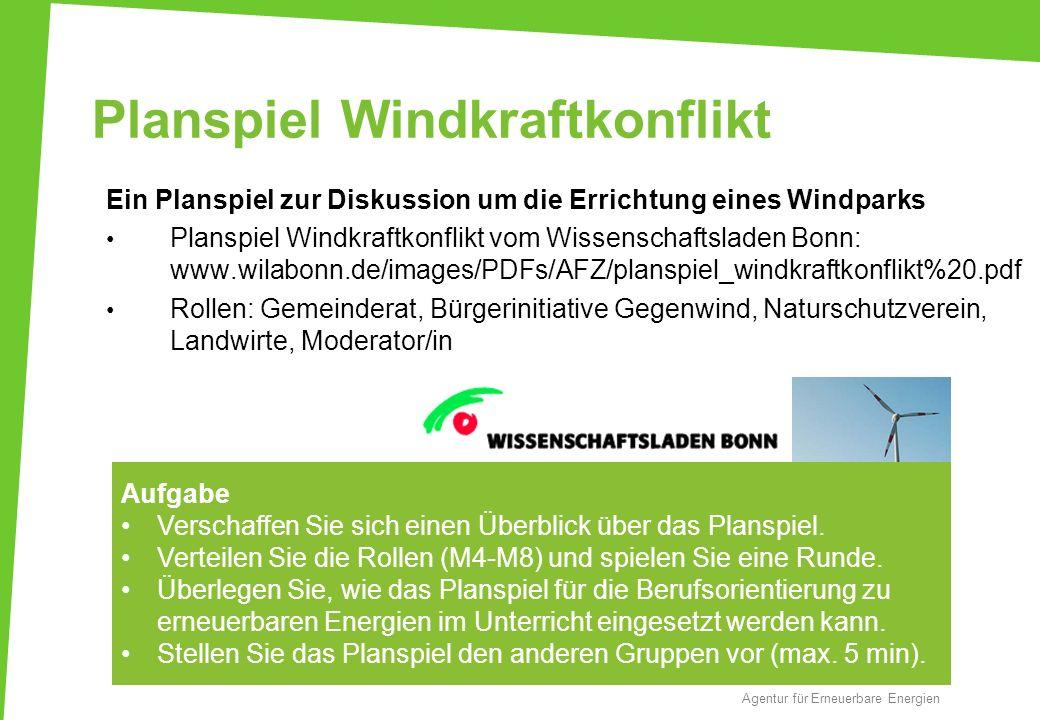 Planspiel Windkraftkonflikt Ein Planspiel zur Diskussion um die Errichtung eines Windparks Planspiel Windkraftkonflikt vom Wissenschaftsladen Bonn: ww