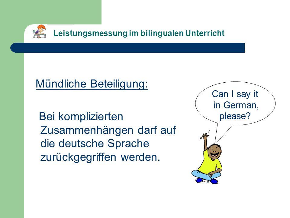 Leistungsmessung im bilingualen Unterricht (Beispiel 1, Klasse 7)