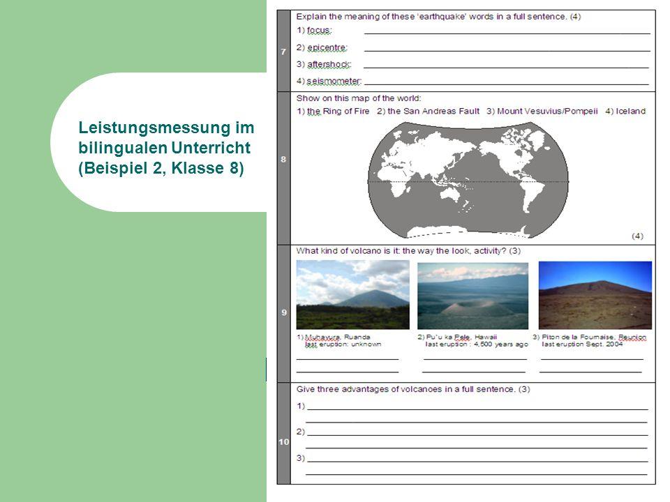 Leistungsmessung im bilingualen Unterricht (Beispiel 2, Klasse 8)