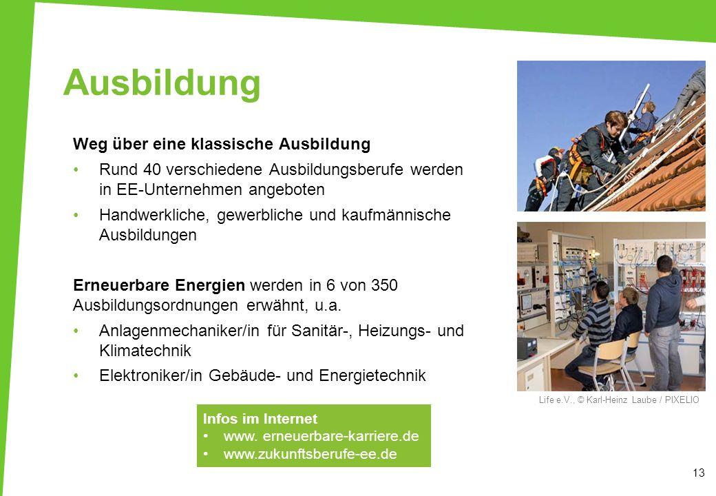 Ausbildung Weg über eine klassische Ausbildung Rund 40 verschiedene Ausbildungsberufe werden in EE-Unternehmen angeboten Handwerkliche, gewerbliche un