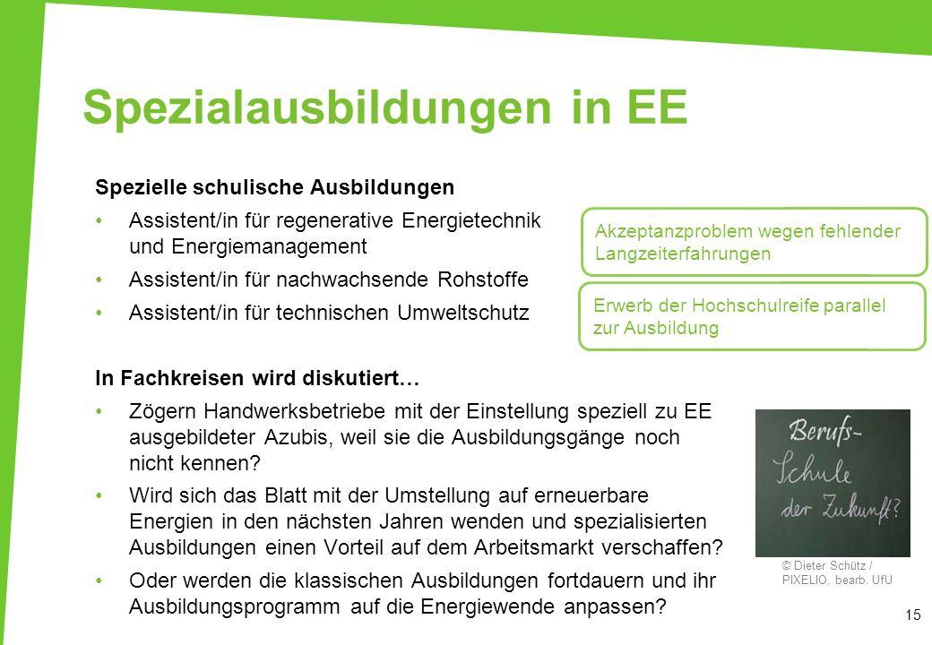 Spezialausbildungen in EE Spezielle schulische Ausbildungen Assistent/in für regenerative Energietechnik und Energiemanagement Assistent/in für nachwa