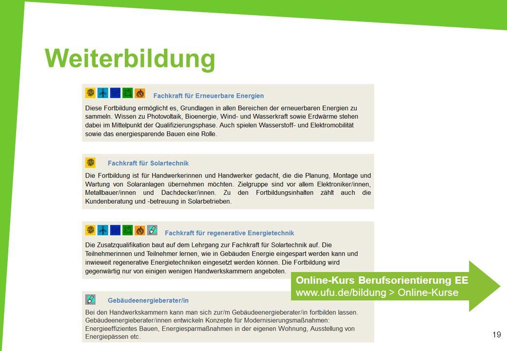 Weiterbildung 19 Online-Kurs Berufsorientierung EE www.ufu.de/bildung > Online-Kurse