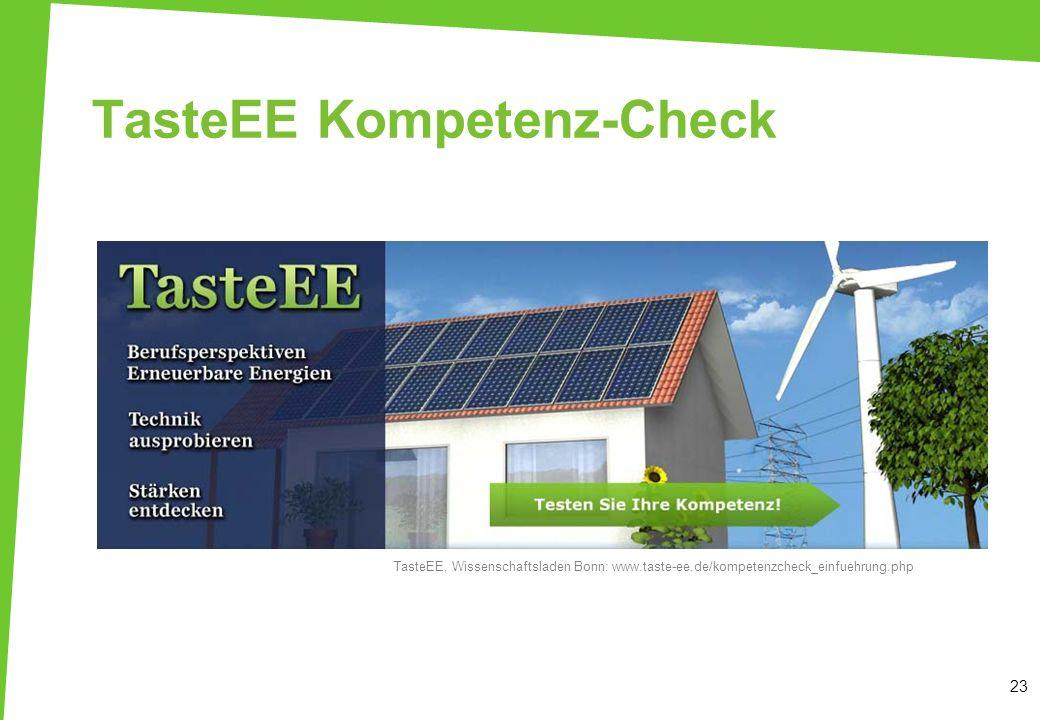 TasteEE Kompetenz-Check 23 TasteEE, Wissenschaftsladen Bonn: www.taste-ee.de/kompetenzcheck_einfuehrung.php