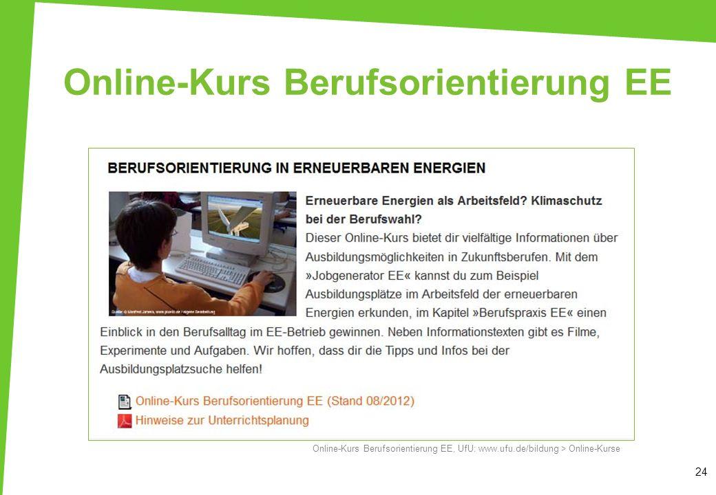 Online-Kurs Berufsorientierung EE 24 Online-Kurs Berufsorientierung EE, UfU: www.ufu.de/bildung > Online-Kurse