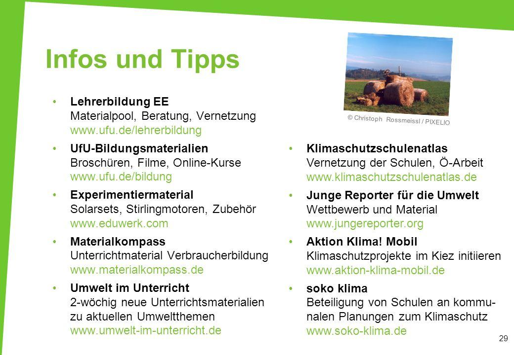 29 Infos und Tipps Lehrerbildung EE Materialpool, Beratung, Vernetzung www.ufu.de/lehrerbildung UfU-Bildungsmaterialien Broschüren, Filme, Online-Kurs