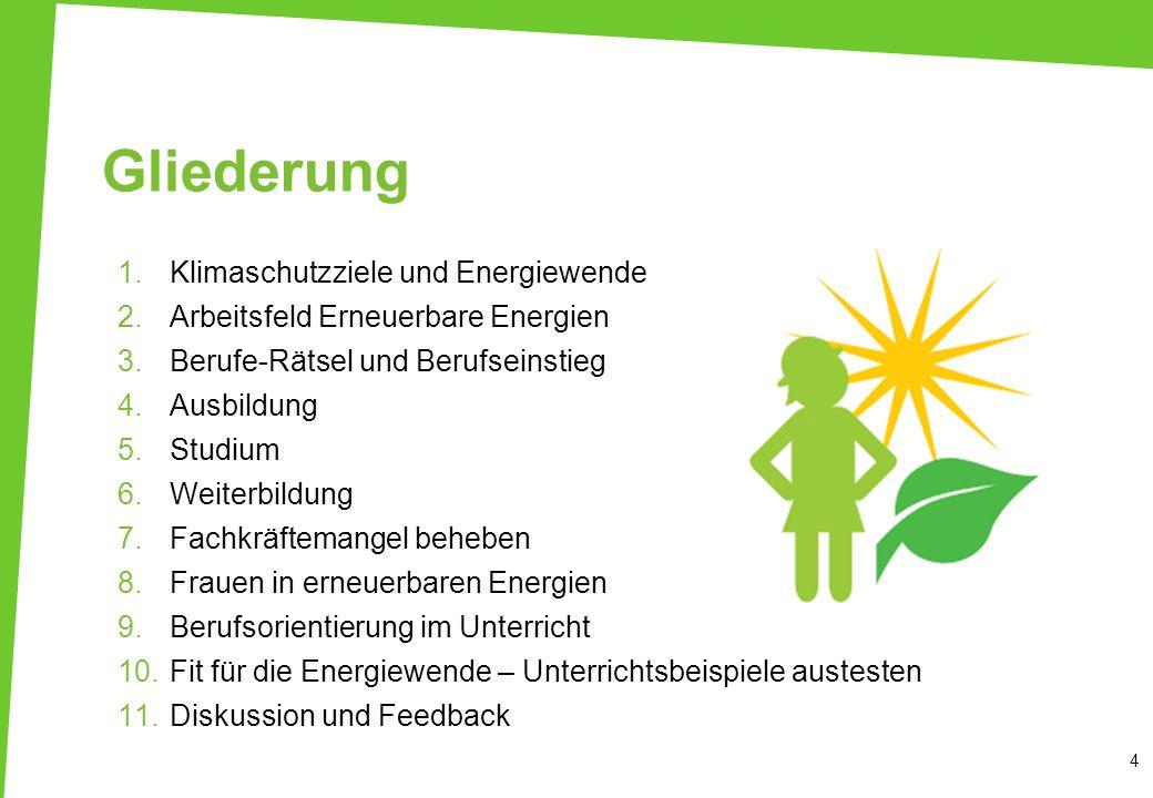 Gliederung 1.Klimaschutzziele und Energiewende 2.Arbeitsfeld Erneuerbare Energien 3.Berufe-Rätsel und Berufseinstieg 4.Ausbildung 5.Studium 6.Weiterbi