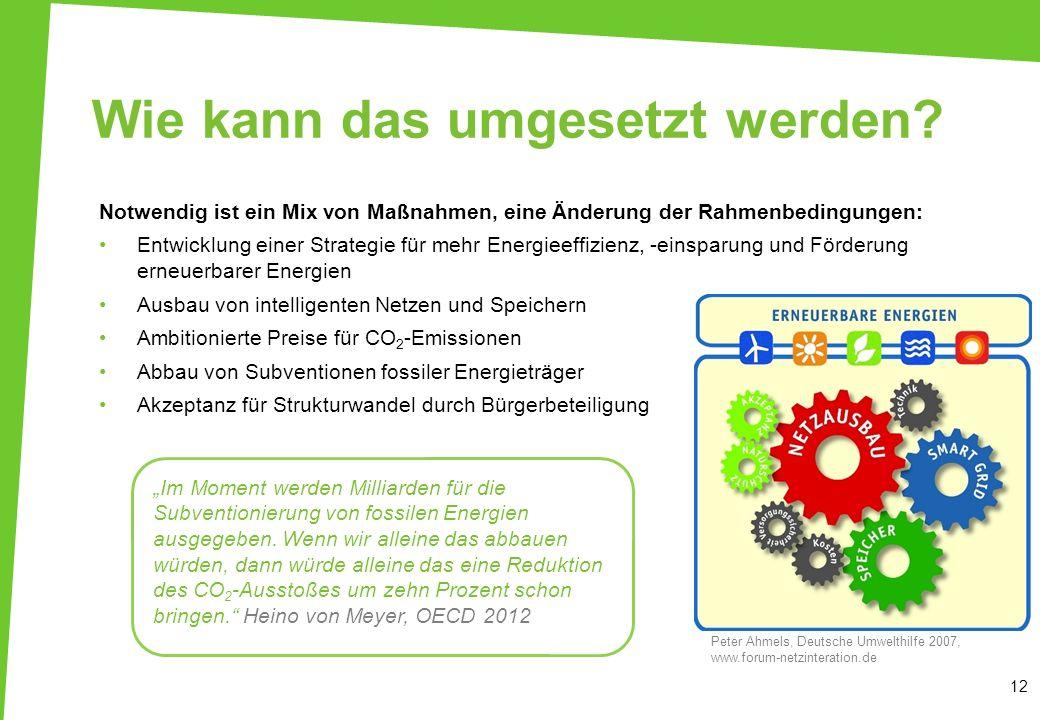 Notwendig ist ein Mix von Maßnahmen, eine Änderung der Rahmenbedingungen: Entwicklung einer Strategie für mehr Energieeffizienz, -einsparung und Förde