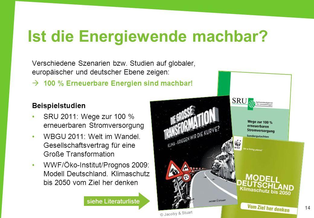 Ist die Energiewende machbar? Verschiedene Szenarien bzw. Studien auf globaler, europäischer und deutscher Ebene zeigen: 100 % Erneuerbare Energien si