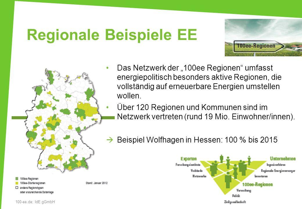 Regionale Beispiele EE Das Netzwerk der 100ee Regionen umfasst energiepolitisch besonders aktive Regionen, die vollständig auf erneuerbare Energien um
