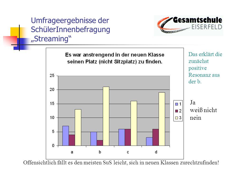 Umfrageergebnisse der SchülerInnenbefragung Streaming k.A.