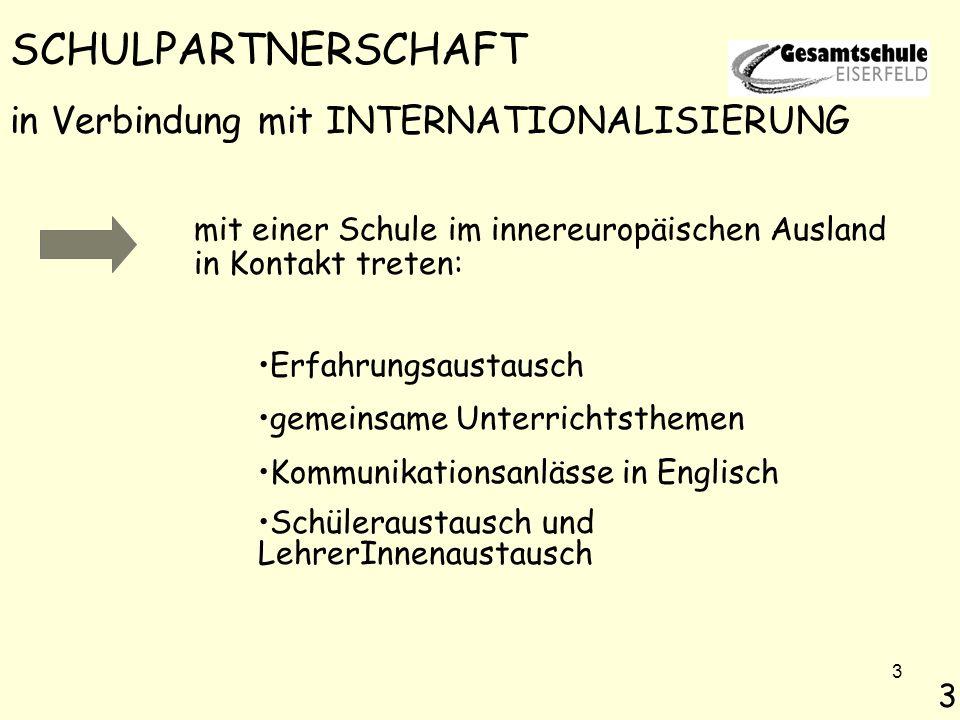 3 mit einer Schule im innereuropäischen Ausland in Kontakt treten: 3 SCHULPARTNERSCHAFT in Verbindung mit INTERNATIONALISIERUNG Erfahrungsaustausch gemeinsame Unterrichtsthemen Kommunikationsanlässe in Englisch Schüleraustausch und LehrerInnenaustausch