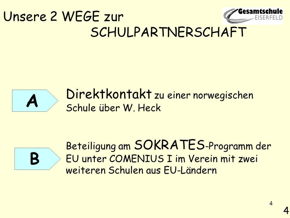 4 Unsere 2 WEGE zur SCHULPARTNERSCHAFT Direktkontakt zu einer norwegischen Schule über W. Heck Beteiligung am SOKRATES -Programm der EU unter COMENIUS