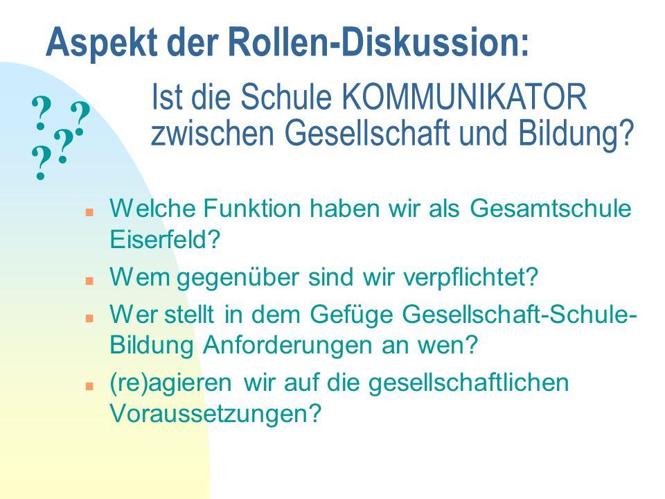 Aspekt der Rollen-Diskussion: n Welche Funktion haben wir als Gesamtschule Eiserfeld? n Wem gegenüber sind wir verpflichtet? n Wer stellt in dem Gefüg