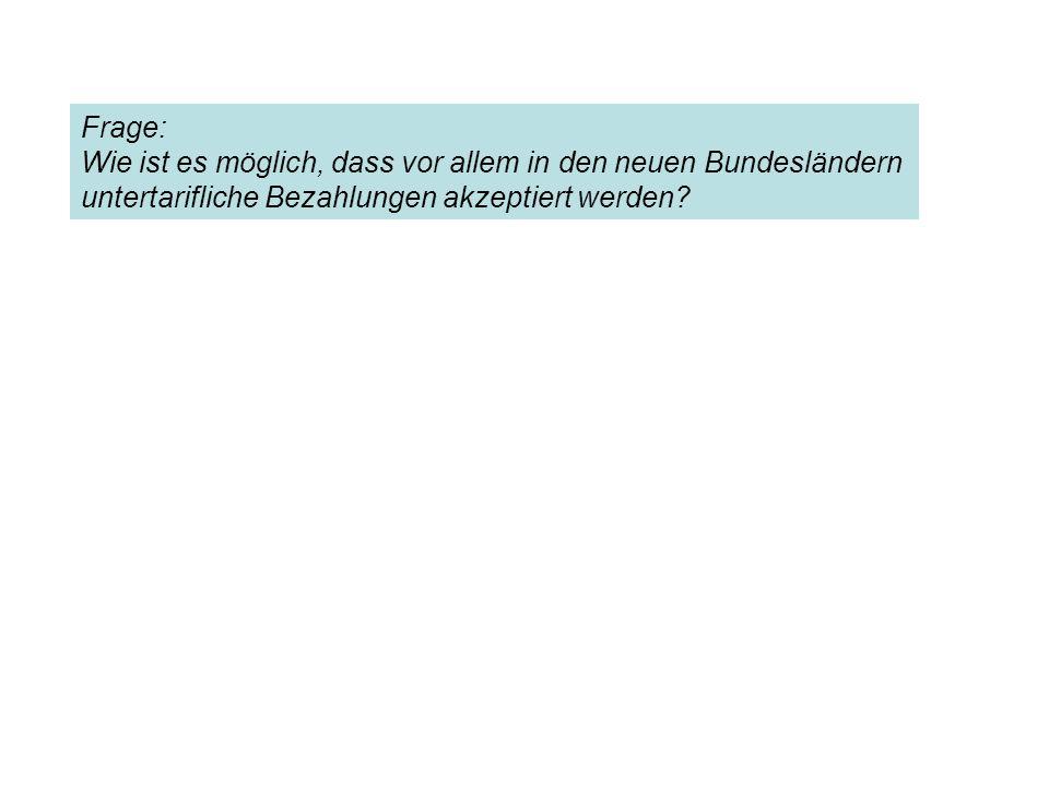 Frage: Wie ist es möglich, dass vor allem in den neuen Bundesländern untertarifliche Bezahlungen akzeptiert werden?