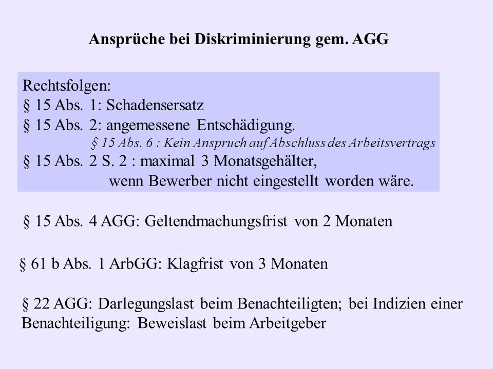Rechtsfolgen: § 15 Abs. 1: Schadensersatz § 15 Abs. 2: angemessene Entschädigung. § 15 Abs. 6 : Kein Anspruch auf Abschluss des Arbeitsvertrags § 15 A