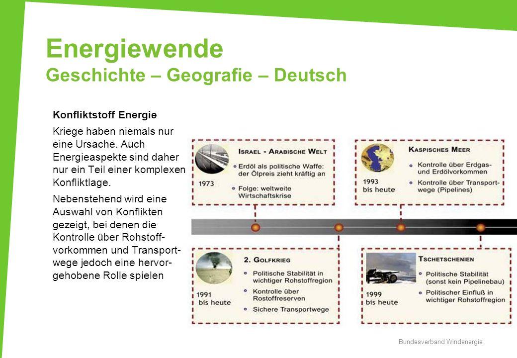 Energiewende Geschichte – Geografie – Deutsch Konfliktstoff Energie Kriege haben niemals nur eine Ursache. Auch Energieaspekte sind daher nur ein Teil