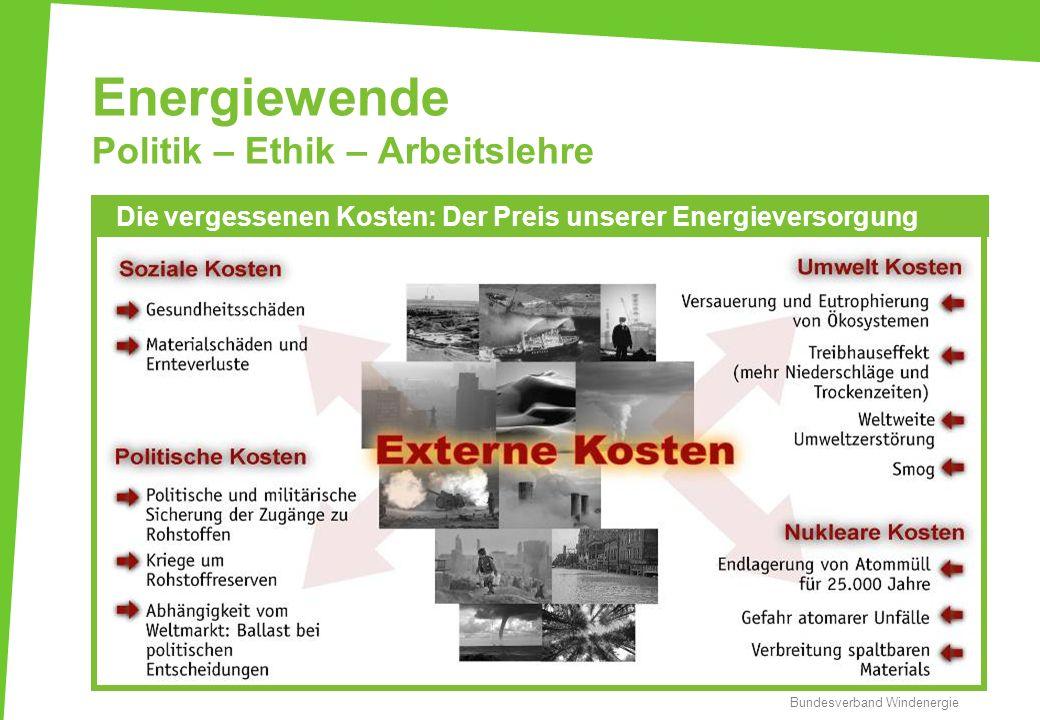 Energiewende Politik – Ethik – Arbeitslehre Bundesverband Windenergie Die vergessenen Kosten: Der Preis unserer Energieversorgung