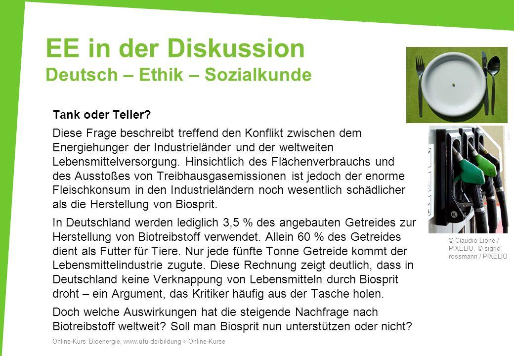 EE in der Diskussion Deutsch – Ethik – Sozialkunde Tank oder Teller? Diese Frage beschreibt treffend den Konflikt zwischen dem Energiehunger der Indus