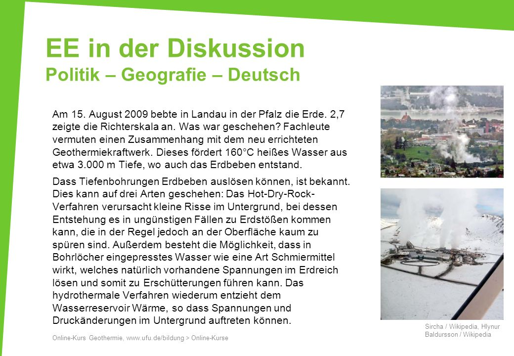 EE in der Diskussion Politik – Geografie – Deutsch Am 15.
