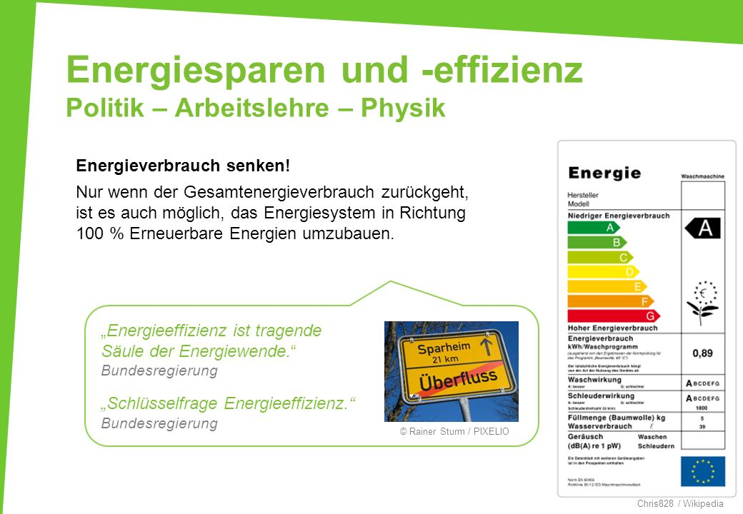 Energiesparen und -effizienz Politik – Arbeitslehre – Physik Energieverbrauch senken! Nur wenn der Gesamtenergieverbrauch zurückgeht, ist es auch mögl