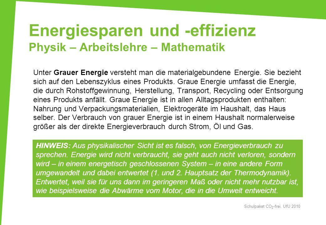 Energiesparen und -effizienz Physik – Arbeitslehre – Mathematik Unter Grauer Energie versteht man die materialgebundene Energie. Sie bezieht sich auf